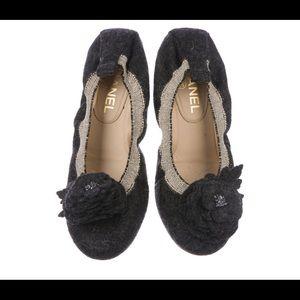 AUTH Chanel Camellia Felt Gathered Ballet Flats 10